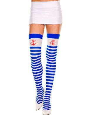 Sailor Striped Thigh Highs with Anchors