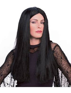 Addams Family Morticia Long Black Wig