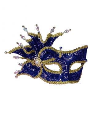 Rose Brocade Masquerade Mask - Blue & Gold