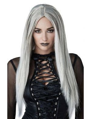 Women's Gothic Matriarch Long Grey And White Halloween Costume Wig Front View