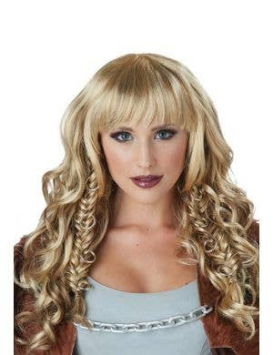 Warrior Queen Women's Blonde Curly Braided Wig with Fringe and O-rings