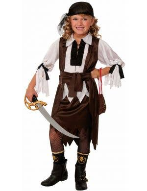 Treasure Hunter Brown and White Girls Pirate Book Week Costume main image