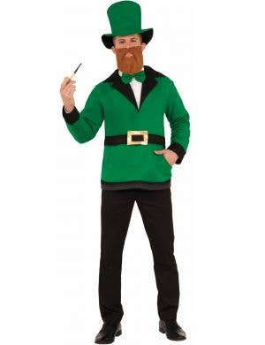 Leprechaun Adult's Green Irish Top, Bow Tie And Hat Costume St Patrick's Day View 1