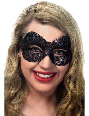 Naomi Black Lace Transparent Masquerade Mask View 1