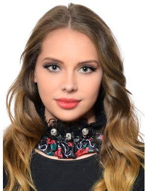 Day of the Dead Lace and Satin Choker Necklace