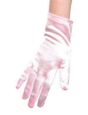 Pale Pink Satin Wrist Length Women's Costume Gloves