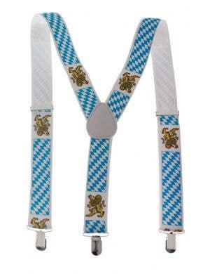 Oktoberfest Blue and White German Suspenders