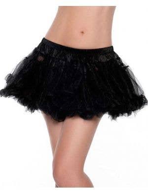 Mini Fluffy Black Petticoat Front View
