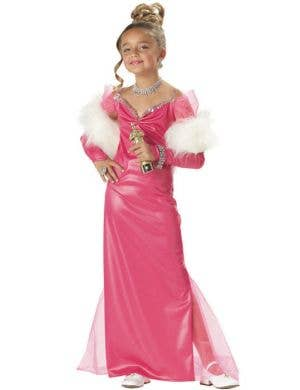 Girl's Pink Hollywood Film Star Costume Front View