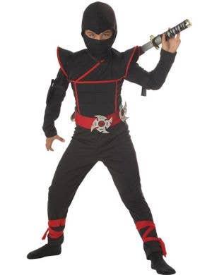 Boy's Black Ninja Fighter International Costume Front