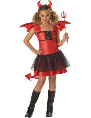 Girl's Red Devil Halloween Costume Front View