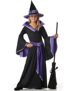 Black and Purple Girl's Long Witch Costume Front View