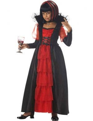 Black and Red Girl's Vampire Costume Front View