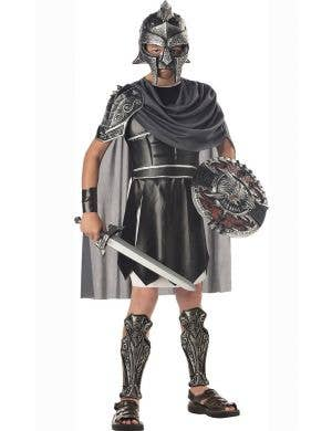 Boy's Black Gladiator Roman Warrior Costume Front
