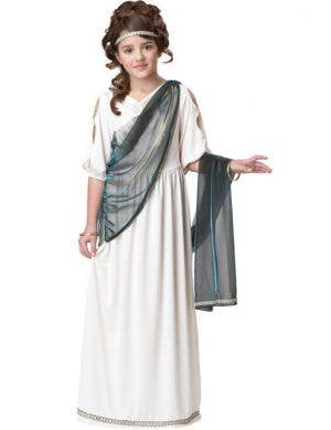 Girl's Roman White Toga Costume Front View