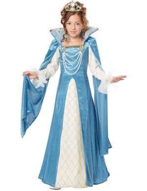 Blue and White Girl's Renaissance Queen Costume Front View