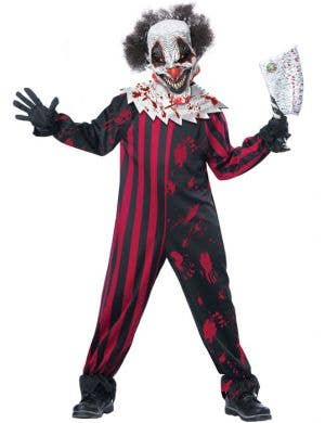 Boy's Killer Clown Creepy Circus Halloween Costume Front