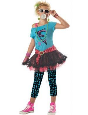 Girl's Retro 80's Pop Star Costume Front View
