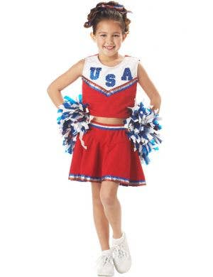 Girl's American Cheerleader Costume Uniform Front View
