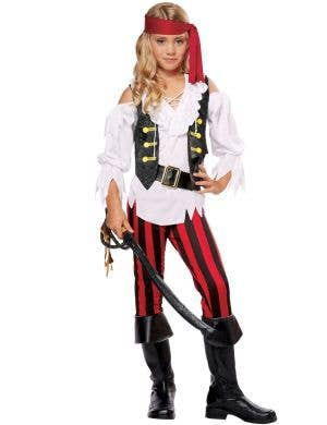 Girls Pirate Posh Black White And Red Costume Image 1