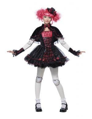 Dark Victorian Doll Fancy Dress Kids Costume Main Image