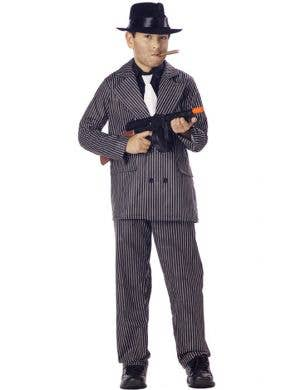Boy's Gangster Mob Boss Costume Suit Front View