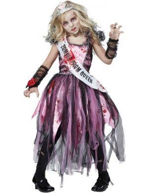 Girls Zombie Prom Queen Halloween Fancy Dress Costume