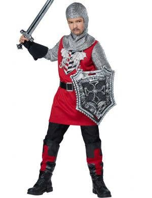 Boys Renaissance Red  Knight Fancy Dress Costume
