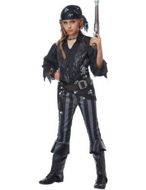 Rebel Black Pirate Girl's Fancy Dress Costume Front Image 1