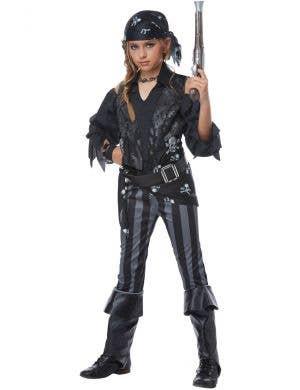 Rebel Black Pirate Girl's Fancy Dress Costume Front Image 1