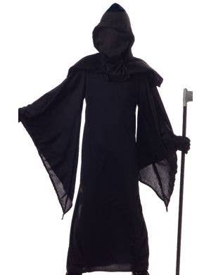 Boy's Black Death Robe Grim Reaper Halloween Costume Front