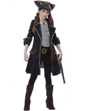 Captain Pirate Black and Gold Girls Fancy Dress Costume Main Image