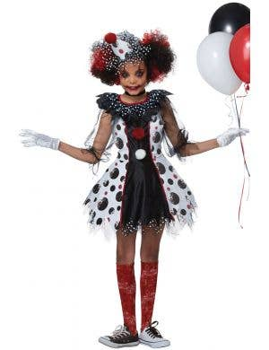 Scary Polka Dots Clown Fancy Dress Girls Halloween Costume Main Image