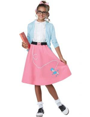 50's Pink Poodle Skirt Rock and Roll Girls Costume Main Image