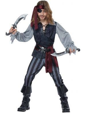 Sea Scoundrel Pirate Boy's Black and Grey Costume Main Image