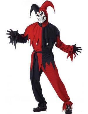 Men's Evil Jester Scary Halloween Dress Up Costume