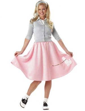 Pale Pink Women's 50's Poodle Skirt Costume Front View