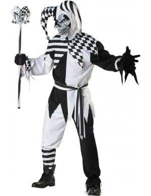 Men's Black and White Jester Halloween Costume