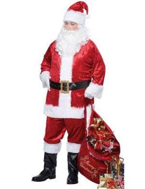 Men's Santa  Suit Classic Velvet Father Christmas Costume Front