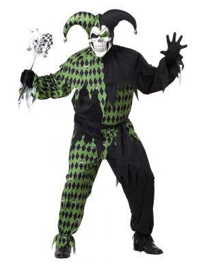 Jokes On You Men's Black and Green Jester Halloween Costume