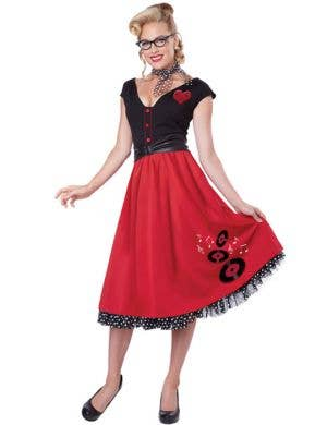 Women's 50's Red and Black Rockabilly Fancy Dress Front