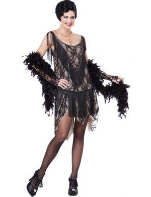 1920's Women's Black Lace Flapper Costume Dress Front View
