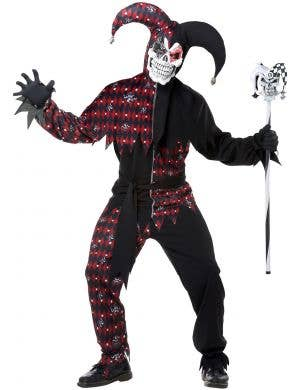 Sinister Court Jester Red and Black Adult's Costume Main Image
