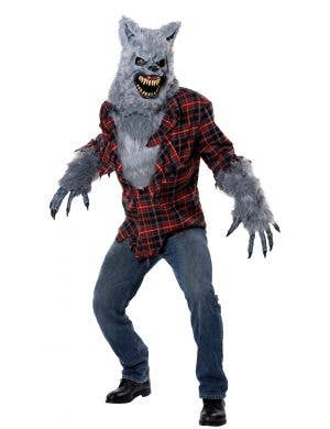 Lycan Men's Grey Werewolf Halloween Fancy Dress Costume