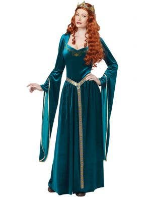 Medieval Queen Guinevere Teal Long Dress Costume Main Image