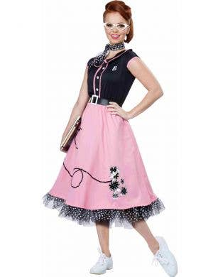Women's Pink and Black 50's Poodle Skirt Retro Costume
