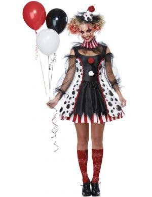 Twisted Women's Clown Evil Halloween Fancy Dress Costume Main Image