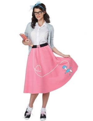 baaba4d494 Pink and White 50s Rockabilly Women s Costume Main Image 50 s Poodle Skirt  ...