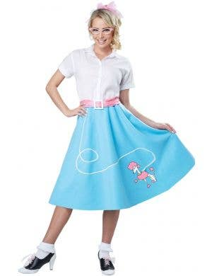 Blue and White 50s Rockabilly Women's Costume Main Image