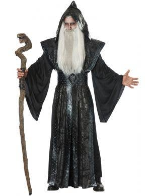 Black Dark Wizard Merlin Studded Men's Halloween Costume Main Image